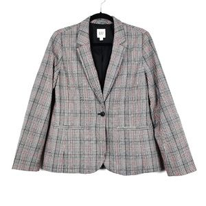 GAP | Black Red Academy Grid Plaid Blazer 10